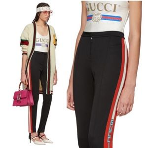 Gucci Sylvie Web Technical Jersey Stirrup Leggings